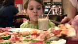 Mother With Girl And Pizza stock footage