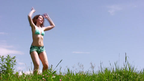 Training woman on grass Footage