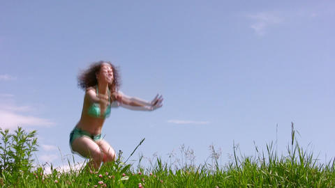 Training woman on grass Stock Video Footage