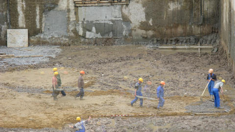 Workers construction time lapse Stock Video Footage