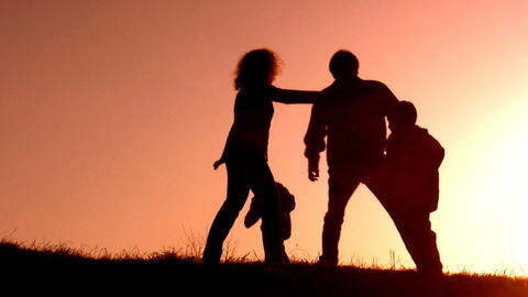 family sunset play Stock Video Footage