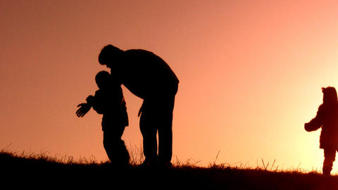 father catch children sunset Stock Video Footage