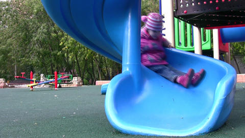 little girl on playground Footage