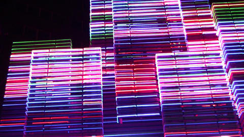 night neon light casino 3 Stock Video Footage