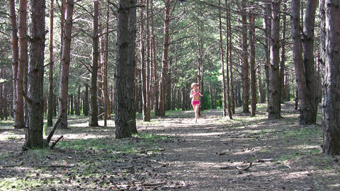 running girl in park Stock Video Footage
