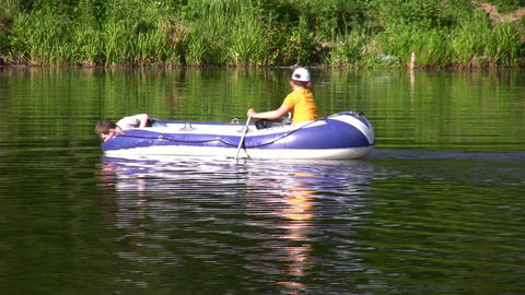 children in boat Stock Video Footage