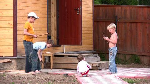 children oudoor home yard Footage