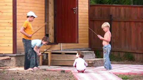 children oudoor home yard Stock Video Footage
