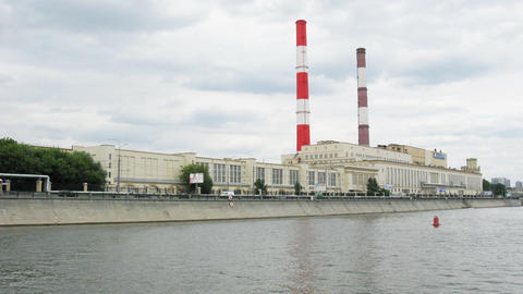 power plant on river Moscow time lapse Stock Video Footage