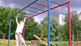 Horizontal Bar Sport Hang Child stock footage