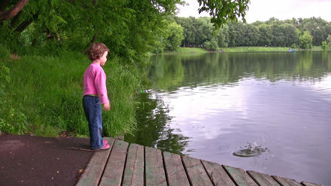 little girl on pond Footage