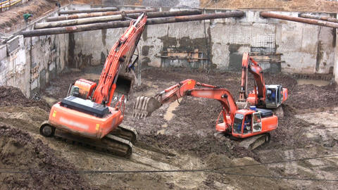 three excavators, no logos Stock Video Footage