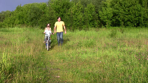 family with bicycle Stock Video Footage