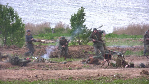 old war reconstruction 2 Stock Video Footage