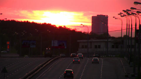 sunset road Stock Video Footage