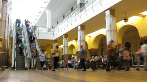 escalator station time lapse Stock Video Footage
