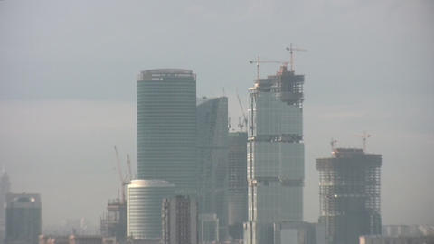 Skyscraper Zoom City Moscow stock footage