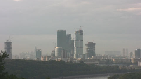 skyscraper zoom city Moscow Stock Video Footage