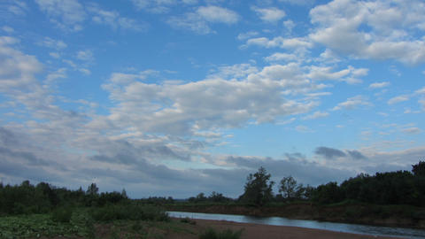 morning landscape with rain clouds over river time Footage