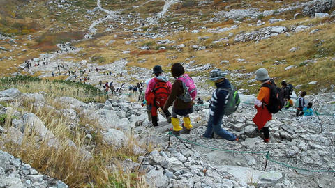 Group Of Hiking Into The Mountains stock footage
