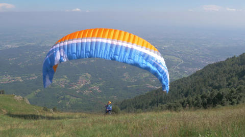 Launching A Paraglider, Filmed In 4k stock footage