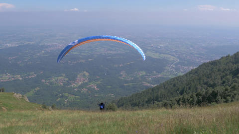 launching a paraglider, filmed in 4k Stock Video Footage