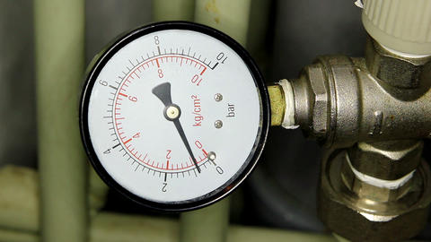 Water pressure meter installed, Full HD Live Action