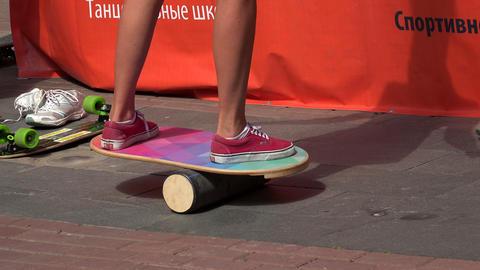 Skateboard. The balance. His feet. 4K Stock Video Footage