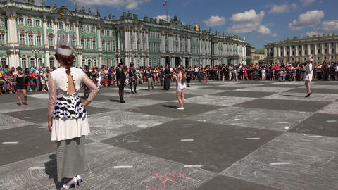 Live chess. The Palace square. Saint-Petersburg. 4 Footage