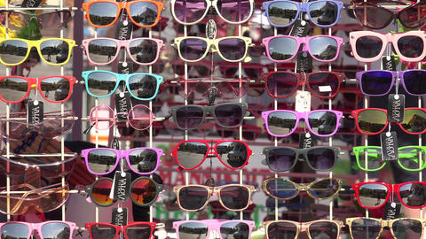 Shop with sunglasses. 4K Footage