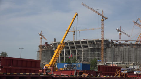 The Construction Of The Stadium In St. Petersburg. stock footage