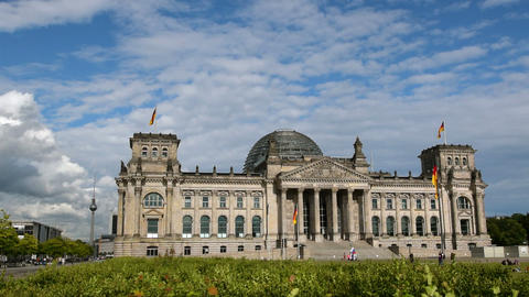 Berlin German Bundestag With Tv Tower In 11411 stock footage