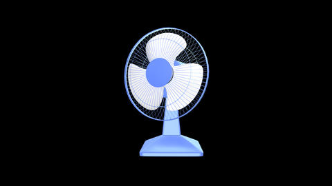 Desk Fan - Blue Plastic - 01 - Loop + Alpha + Soun Animation