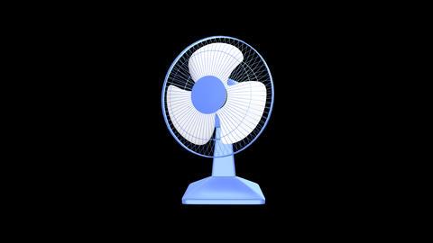 Desk Fan - Blue Plastic - 01 - Loop + Alpha + Soun Stock Video Footage