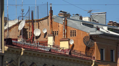 Antennas And Transponders On The Roof. 4K stock footage