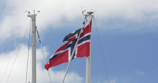 4K, Flag Of Norway, Blue Sky, Pirate Flag Stock Video Footage