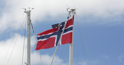 4K, Flag Of Norway, Blue Sky, Pirate Flag Footage