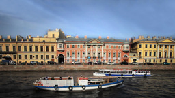 travel on canals of St. Petersburg Film Tilt Footage