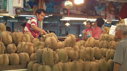 Durian Stall at a Bangkok Fruit Market Footage