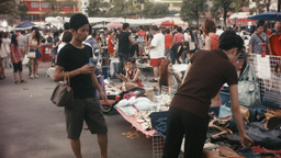 Shopping At A Busy Bangkok Night Market stock footage