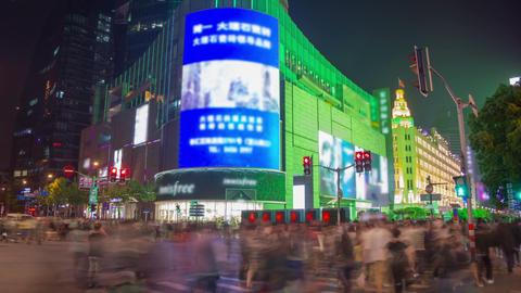 Crossroad in Shanghai timelapse Footage