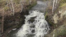 Waterfall at the small mountain river Stock Video Footage