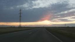 Driving To The Sunrise stock footage