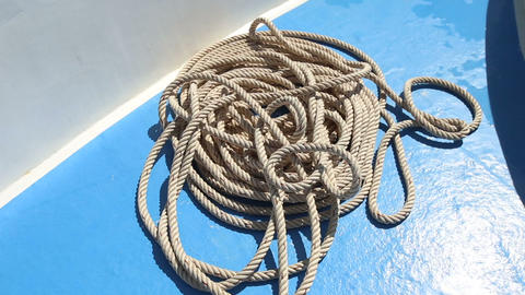 Rope Lying On Deck Of Ship stock footage