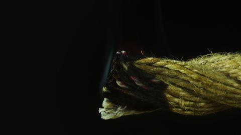 Smoldering rope - macro shot Footage