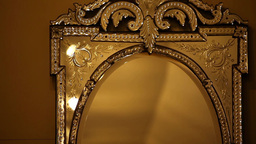 Old Antique Gold Mirror stock footage