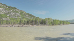 Panorama of Katun river in Altai region Stock Video Footage