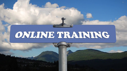 Online training road sign with flowing clouds Stock Video Footage