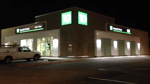 TD Bank at night scene Stock Video Footage