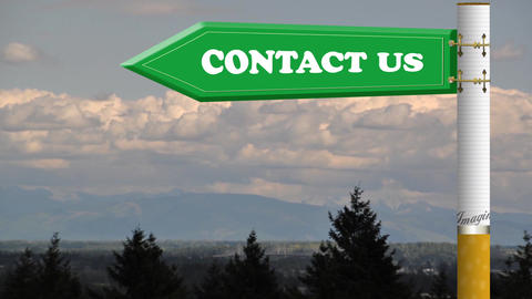 Contact us road sign with flowing clouds Stock Video Footage